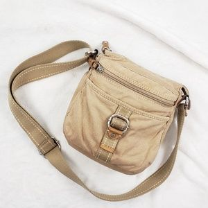 Fossil canvas crossbody bag in cream